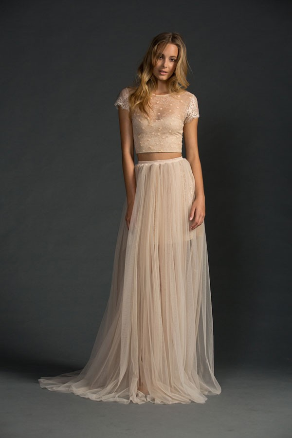 Crop top wedding dresses the one bride guide for Wedding dress skirt and top