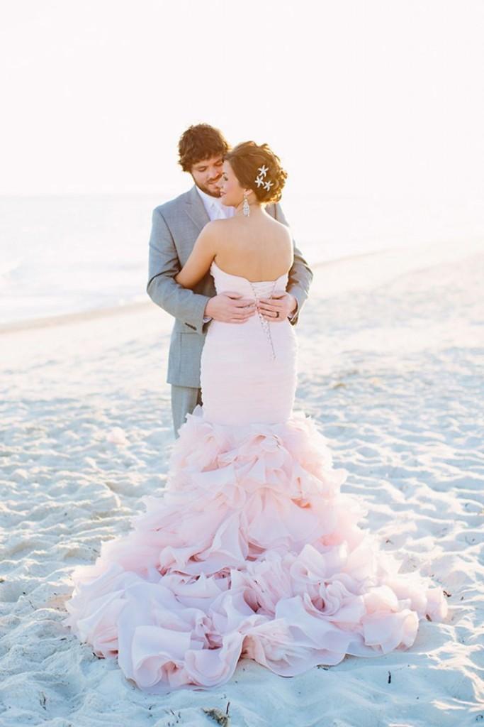 ruffled-blush-mermaid-wedding-gown